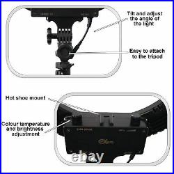 18 LED Studio Ring Light Dimmable Light Photo Video Lamp Kit For Camera Shoot