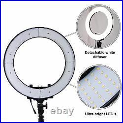 18 Studio LED 24W Ring Light +2M Reverse Stand Photo Video Selfie Makeup Beauty