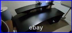 All black Professional music studio / video editing desk with, 24 x 19 bays
