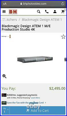 Blackmagic design atem 1 m/e production studio 4K Video Switcher