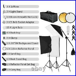 Video Photo Studio Continuous Lighting Stand Kit Portable Aluminum Alloy Softbox